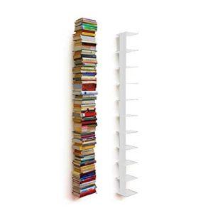 Haseform Bücherturm 170 cm (für 1,80 m Bücher) Weiss  ♥ An Wand hängendes weisses Bücherregal