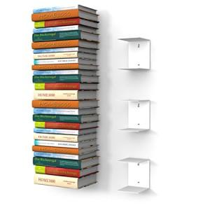 Bücherregal kaufen - 3 weisse unsichtbare Bücherregale mit 6 Fächern für große Bücher bis 30cm Tiefe und für 150cm hohen Bücherstapel
