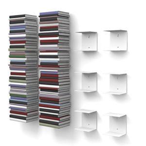 home3000 6 weiße unsichtbare Bücherregale ♥ Bücherregale mit 12 Fächern