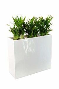 VIVANNO Pflanzkübel Raumteiler Weiß - Trennelement Sichtschutz Fiberglas weiß
