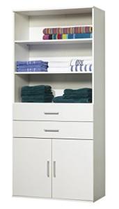 Regalschrank, 2 Türen, 2 Schubladen ♥ Regal 25 cm Tief Weiß