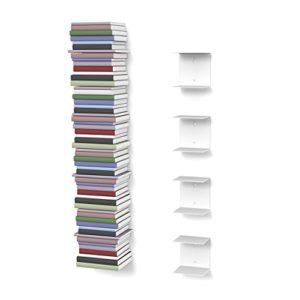home3000 4 weiße unsichtbare Bücherregale mit 8 Fächern ♥ Bücherregal Tiefe 15 cm ♥ Bücherregal nicht tief