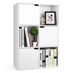 Homfa  Raumtrenner Regal ♥ 6 Fächern ♥ 3 Türen weiß ♥ Bücherregal Tür ♥ Bücherregal 60 cm breit