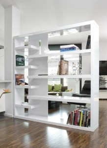 Raumteiler, 4 große Einlegeböden  ♥ Regal Weiß 30 cm Tief